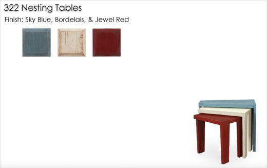 Lorts 322 Nesting Tables finished in Sky Blue, Bordelais, and Jewel Red