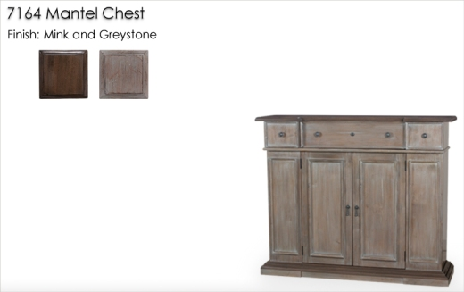Lorts 7164 Mantel Chest finished in Mink and Greystone