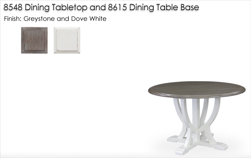 Lorts 8548 / 8615 Dining Table finished in Greystone and Dove White