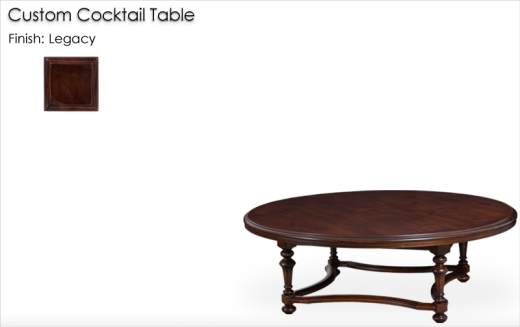 Lorts Custom Round Cocktail Table finished in Legacy