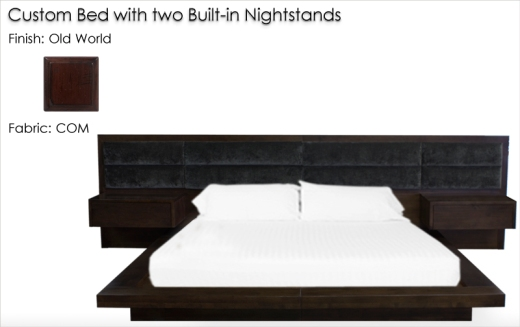 Lorts Custom Platform Bed with two built-in nightstands finished in Old World