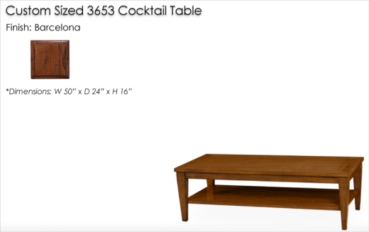 Lorts Custom Sized 3653 Tapered Leg Cocktail Table finished in Barcelona