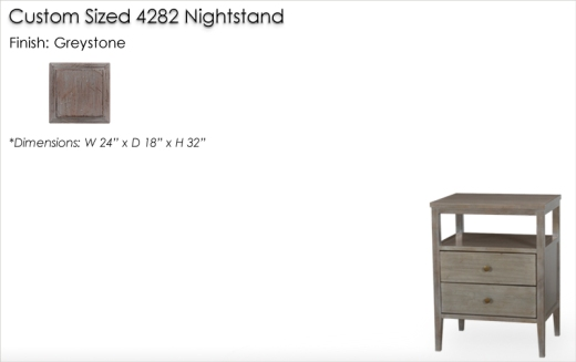 Lorts Custom Sized 4282 Nightstand finished in Greystone