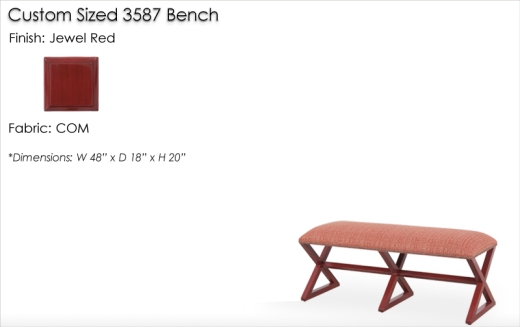 Lorts Custom Sized 3587 Bench finished in Jewel Red