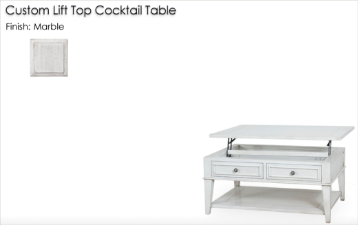 Lorts Custom Lift Top Cocktail Table finished in Marble