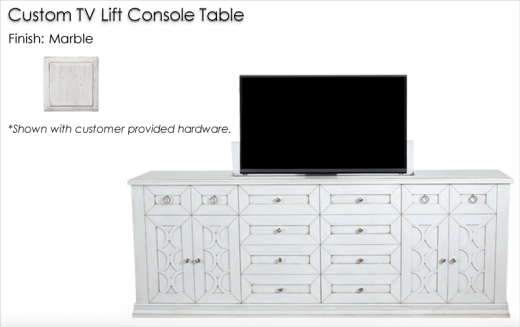 Lorts Custom TV Lift Console Table finished in Marble