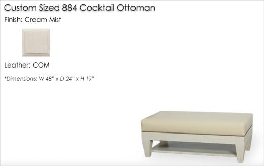 Lorts Custom Sized 884 Ottoman finished in Cream Mist