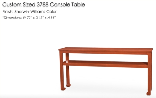 Lorts Custom Sized 3788 Chow Leg Console Table finished in a Sherwin-Williams color