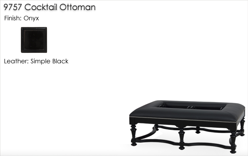Lorts 9757 Cocktail Ottoman finished in Onyx