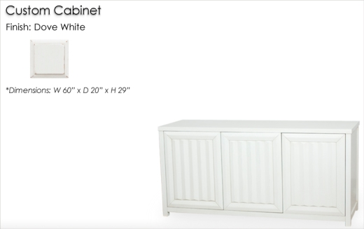 Lorts Custom Sized 3 Door 8815 Buffet finished in Dove White