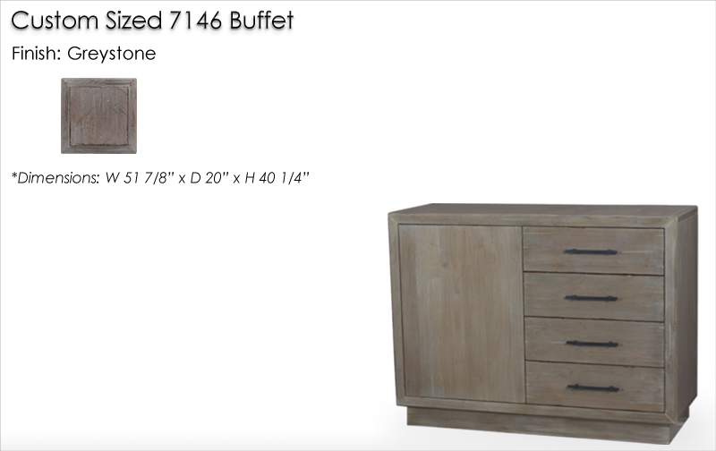 Lorts Custom Sized 7146 Buffet finised in Greystone