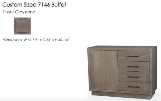Lorts Custom Sized 7146 Buffet finised in Greystone
