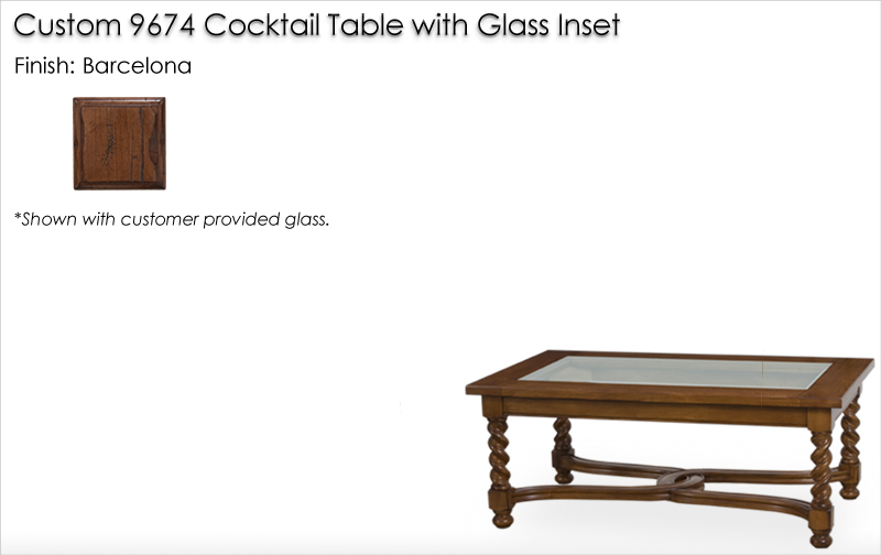 Lorts Custom 9674 Cocktail Table with glass inset finished in Barcelona