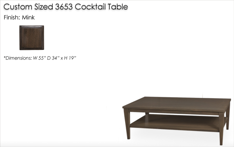 Lorts Custom Sized 3653 Tapered Leg Cocktail Table finished in Mink