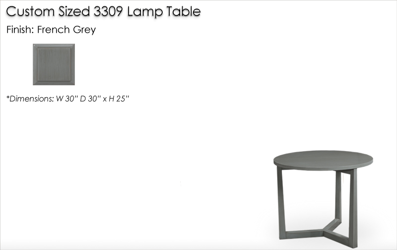 Lorts Custom Height 3309 Lamp Table finished in French Grey