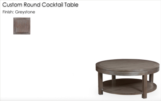 Lorts Custom Round Cocktail Table finished in Greystone