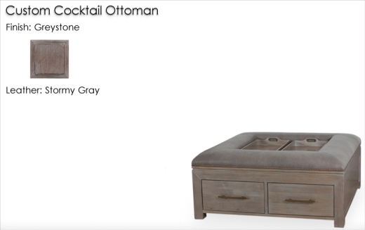 Lorts Custom 4 Drawer 9759 Cocktail Ottoman finished in Greystone