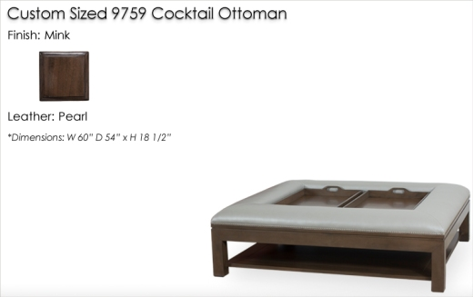 Lorts Custom Sized 9759 Cocktail Ottoman finished in Mink