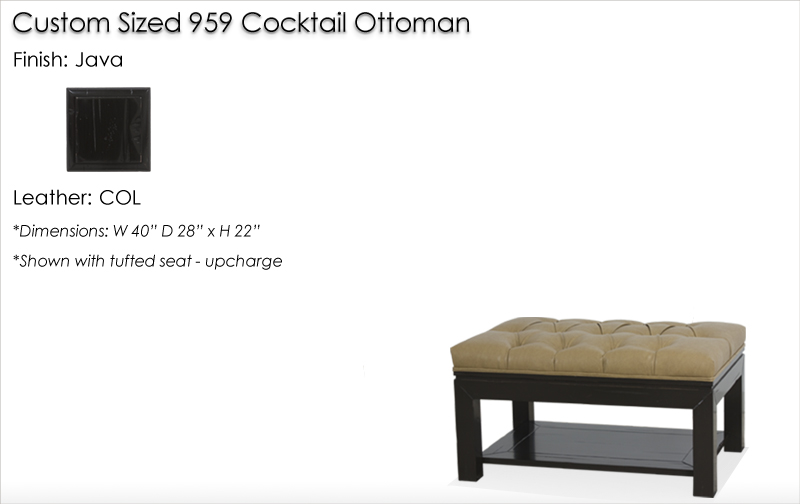 Lorts Custom Sized 959 Cocktail Ottoman finished in Java