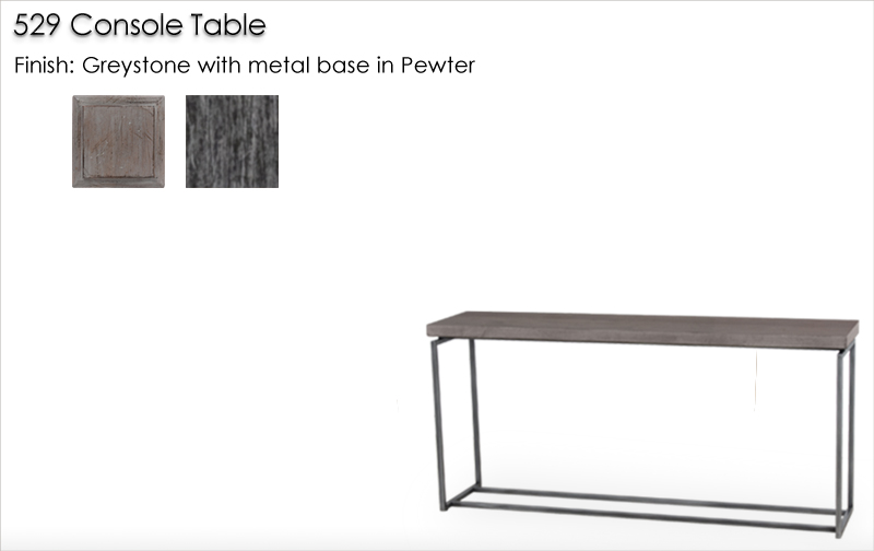 Lorts 529 Console Table finished in Greystone with metal base finished in Pewter