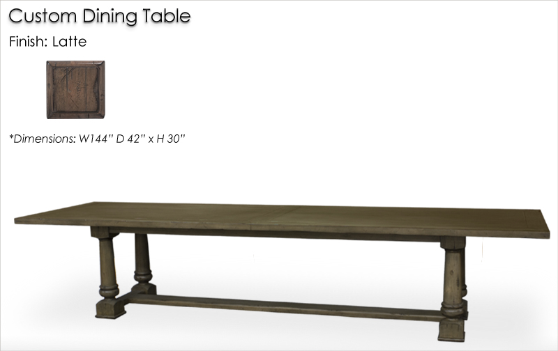 Lorts Custom 2214 Dining Table finished in Latte