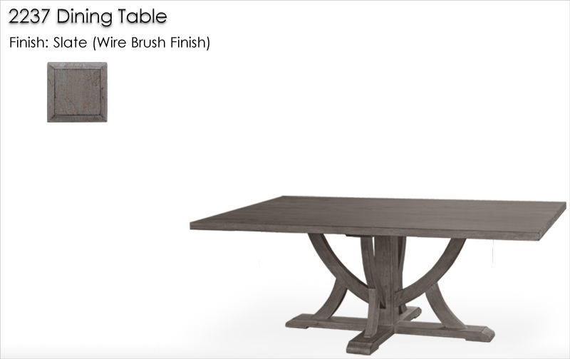 Lorts 2237 Dining Table finished in Slate, Wire Brush Finish