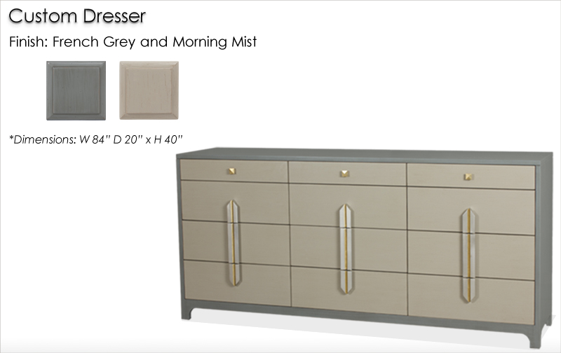 Lorts Custom 4318 Styled Dresser finished in French Grey and Morning Mist