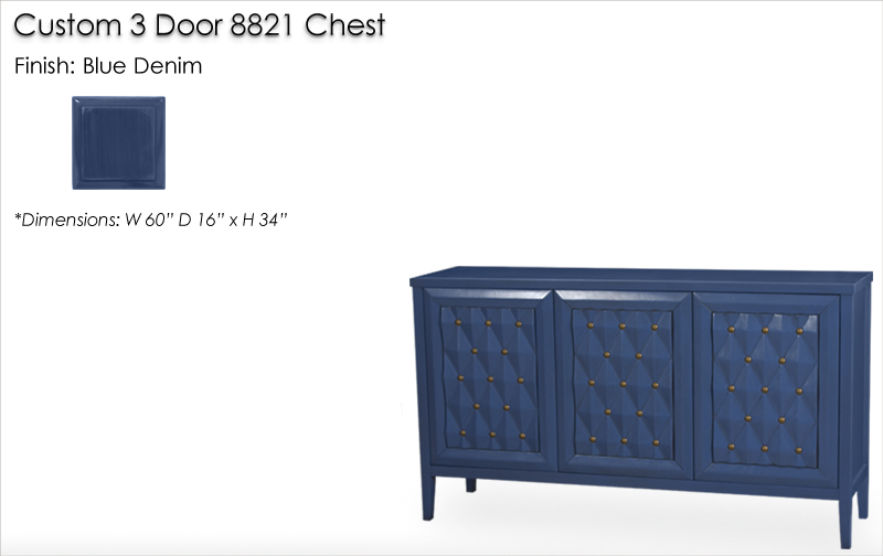 Lorts Custom 3 Door 8821 Chest finished in Blue Denim