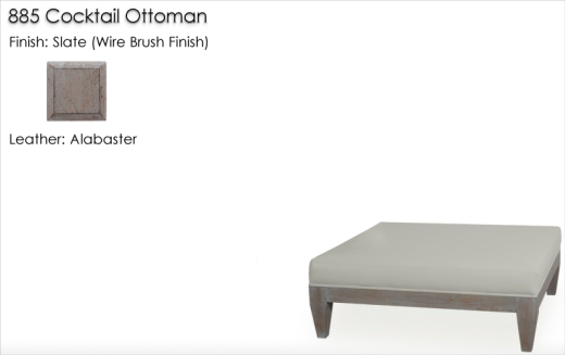 Lorts 885 Cocktail Ottoman finished in Slate, wire brush finish