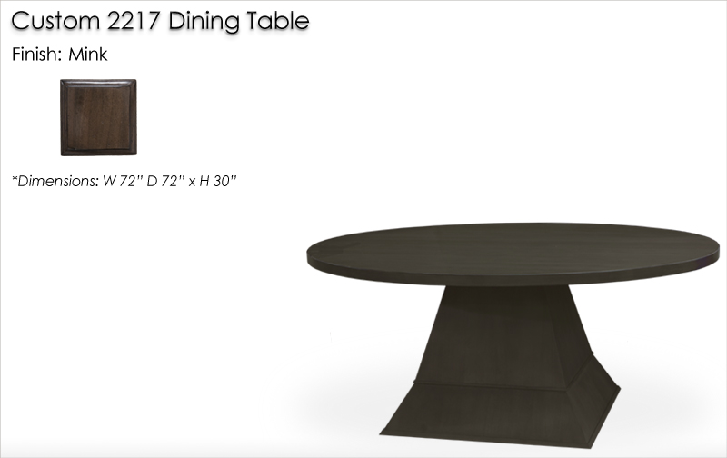 Lorts Custom 2217 Dining Table with 72 Inch Round Tabletop finished in Mink