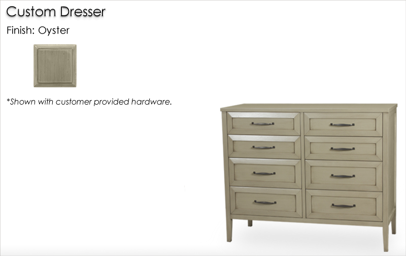 Lorts Custom Dresser finished in Oyster with customer provided hardware