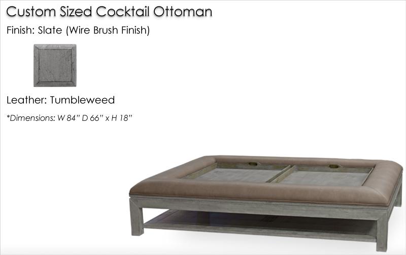 Lorts Custom Sized Ottoman finished in Slate (Wire Brush Finish)