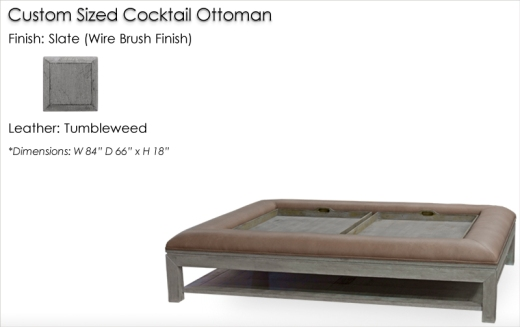 Lorts Custom Sized Ottoman finished in Slate (Wire Brush Finish)
