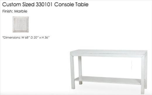 Lorts Custom Sized 330101 Console Table finished in Marble