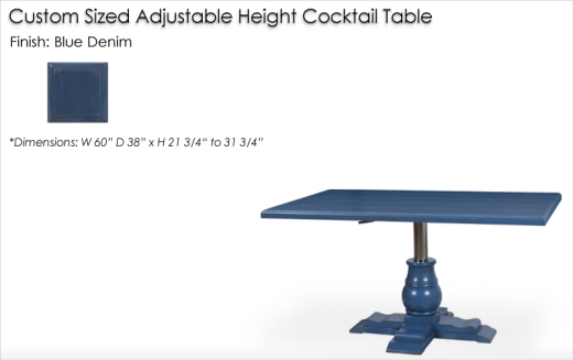 Lorts Custom Adjustable Height Table finished in Blue Denim