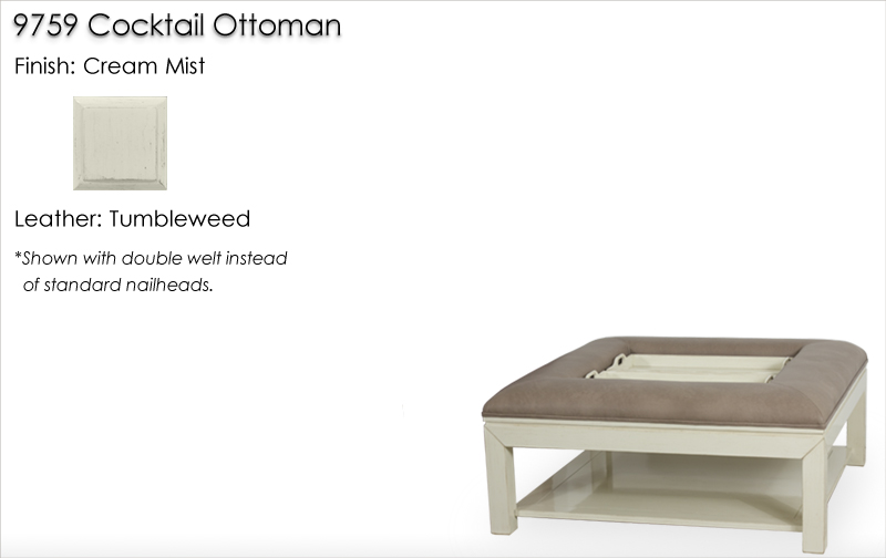 Lorts 9759 Cocktail ottoman finished in Cream Mist