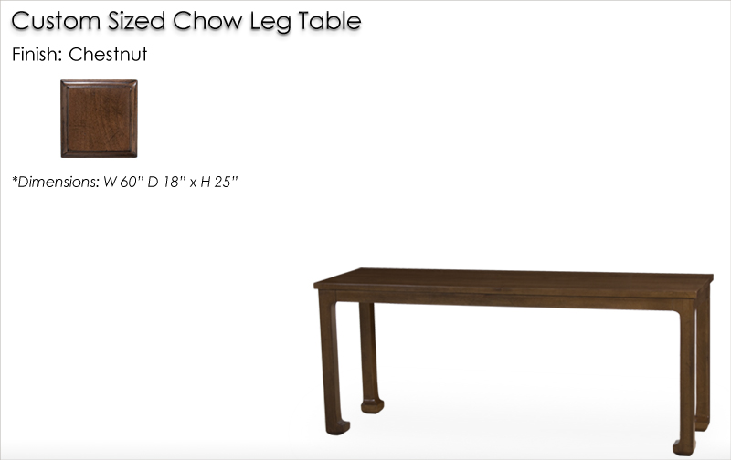 Lorts Custom Sized Chow Leg Occasional Table finished in Chestnut