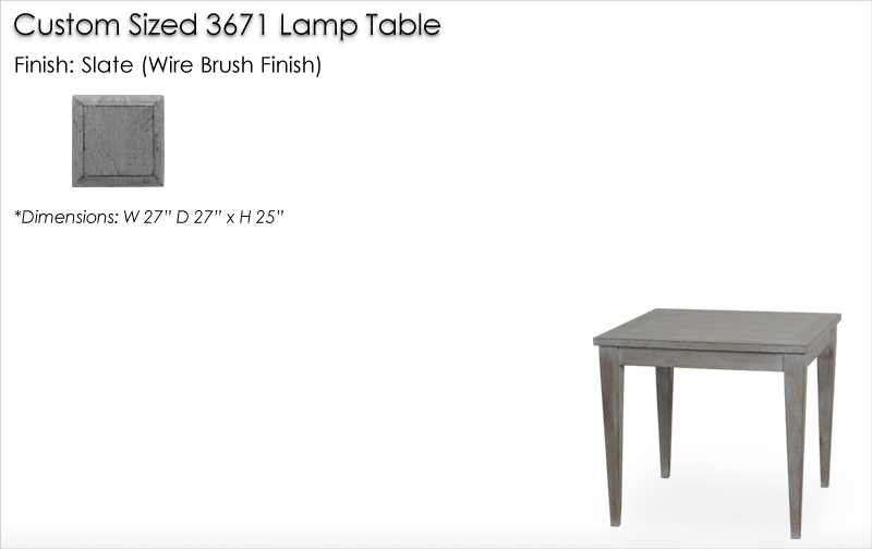 Lorts Custom Sized 3671 Tapered Leg Lamp Table finished in Slate (Wire Brush Finish)