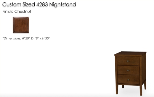 Lorts Custom Sized 4293 Nightstand finished in Chestnut