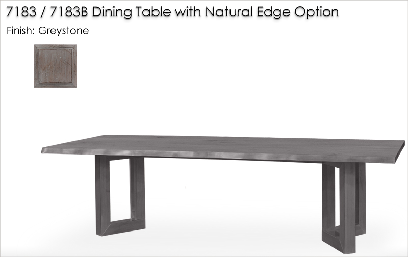 Lorts 7183 / 7183B Dining Table with Natural Edge Option finished in Greystone