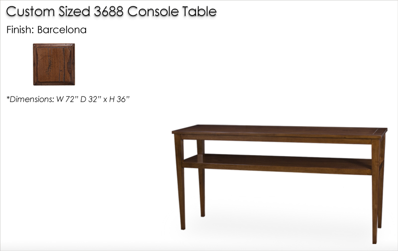 Lorts Custom Sized 3688 Tapered Leg Console Table finished in Barcelona