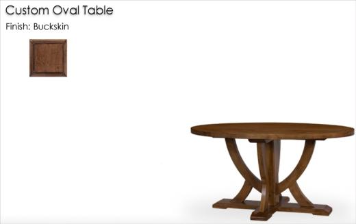 Lorts Custom Oval Table finished in Buckskin