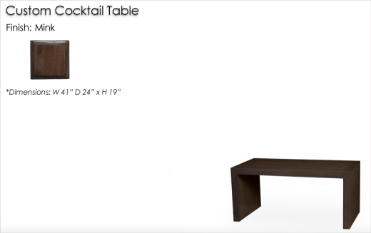 Lorts Custom Sized 3311 Cocktail Table with no shelf finished in Mink