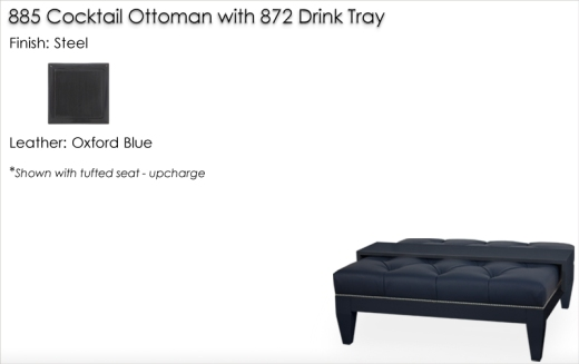 Lorts 885 Cocktail Ottoman and Drink Tray finished in Steel