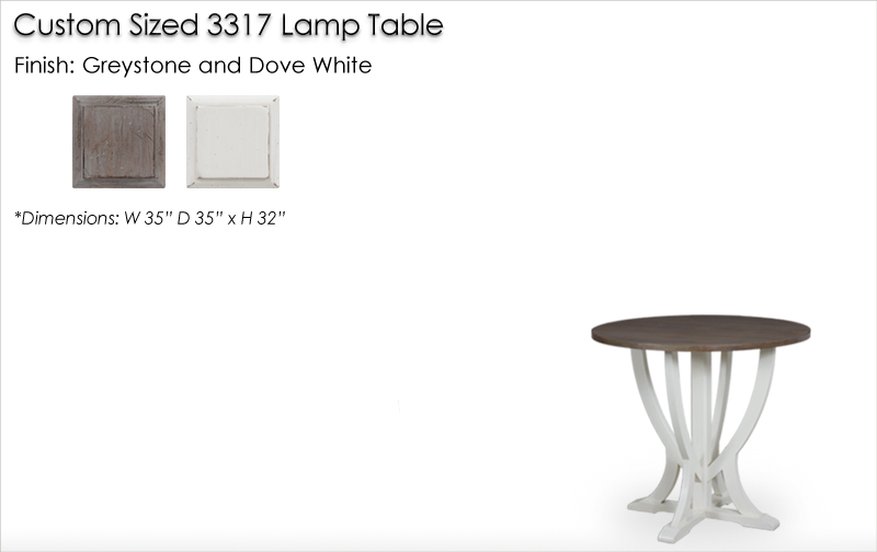 Lorts Custom Sized 3317 Lamp Table finished in Greystone and Dove White