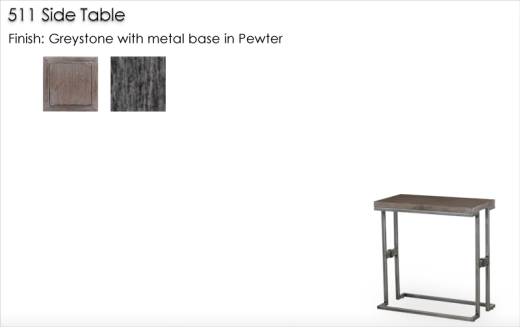 Lorts 511 Side Table finished in Greystone and Pewter
