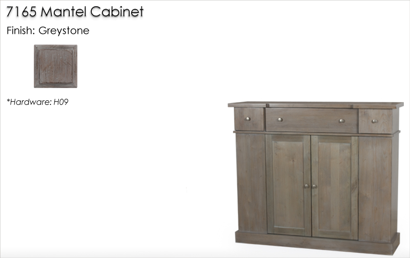 Lorts 7165 Mantel Cabinet finished in Greystone
