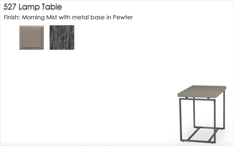 Lorts 527 Lamp Table finished in Morning Mist and metal base in Pewter