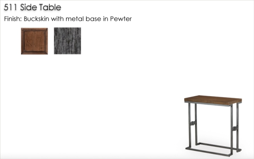 Lorts 511 Side Table finished in Buckskin and metal base in Pewter