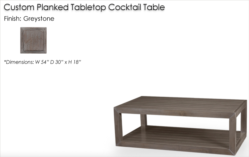 Custom Planked Tabletop Cocktail Table finished in Greystone